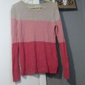 Cashmere Nanette Lepore Sweater Striped Pink Tan
